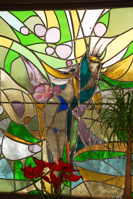 Glasfenster in der Bauernstube im Hotel Pfiffelburg