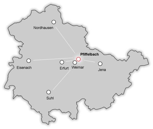 Karte Weimar Und Umgebung.Region Hotel Pfiffelburg In Thuringen Bei Weimar
